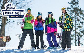 Sezónní nepřenosný skipass s večerním lyžováním v Snowparadise Velká Rača Oščadnica