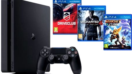PlayStation 4 Slim, 1TB, černá + Uncharted 4 + DRIVECLUB + Ratchet & Clank - PS719805465