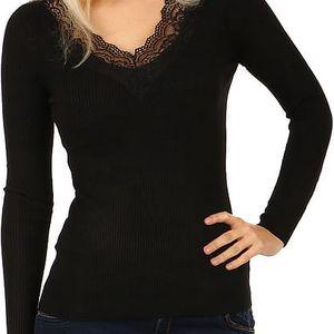 Žebrované tričko s krajkou ve výstřihu černá