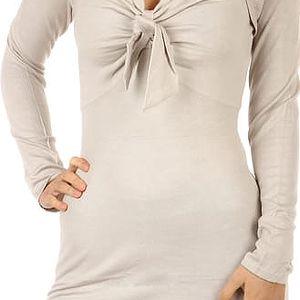 Dlouhý svetr/šaty s ozdobným uzlem krémová