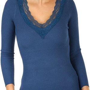Žebrované tričko s krajkou ve výstřihu tmavě modrá