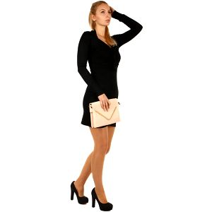 Dlouhý svetr/šaty s ozdobným uzlem černá