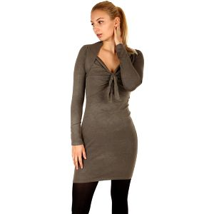 Dlouhý svetr/šaty s ozdobným uzlem khaki