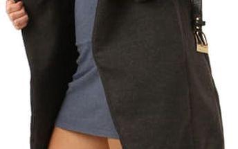 Kabát s kožešinovým límcem a páskem šedá