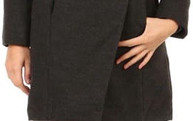 Kabát s kožešinovým límcem a páskem černá