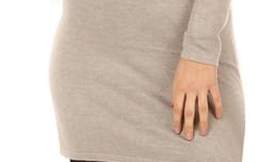 Dlouhý svetr/šaty s ozdobným uzlem světle béžová