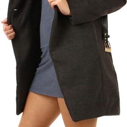Dámský kabát s kožešinovým límcem šedá