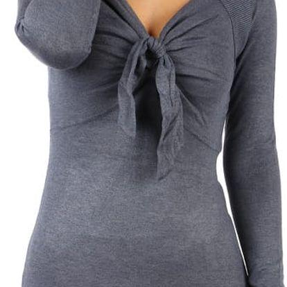 Dlouhý svetr/šaty s ozdobným uzlem modrá