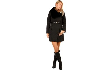 Dámský kabát s kožešinovým límcem černá
