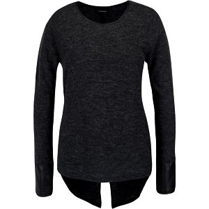 Tmavě šedé tričko s dlouhým rukávem a koženkovými detaily b.young