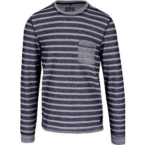 Tmavě modrý pruhovaný svetr s kapsou Blend