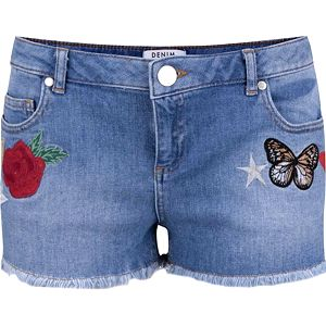 Modré džínové kraťasy s výšivkou Miss Selfridge Petites