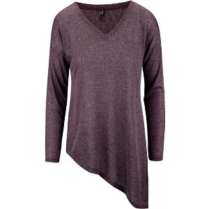 Vínové asymetrické tričko s dlouhým rukávem ONLY Hanna