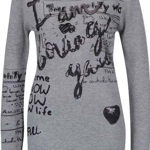 Šedý žíhaný svetr s potiskem a flitry Desigual Lisa