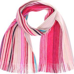 Béžová dámská vlněná šála s růžovými pruhy Fraas