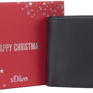 Černá pánská kožená peněženka v dárkovém balení s.Oliver