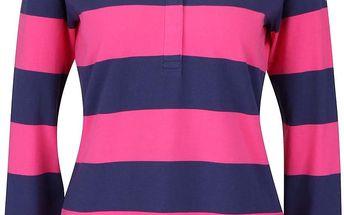 Modro-růžové dámské polo tričko s dlouhým rukávem GANT