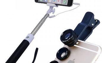 Selfie tyč se třemi objektivy na smartphone