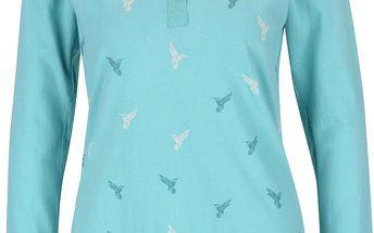 Tyrkysové tričko s dlouhým rukávem a potiskem ptáčků Brakeburn Curved