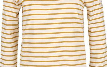 Žluto-krémové dámské pruhované tričko s 3/4 rukávem Tom Joule Harbour