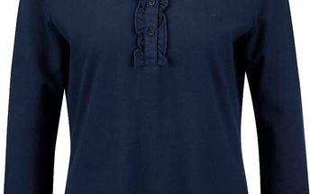 Tmavě modré dámské tričko s nízkým stojáčkem GANT