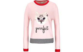 Světle růžový svetr s motivem kočky Miss Selfridge