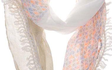 Krémový dámský šál s barevnými vzory s.Oliver