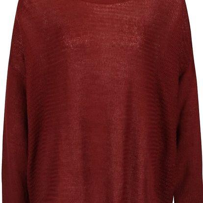 Vínový volný svetr s límcem b.young