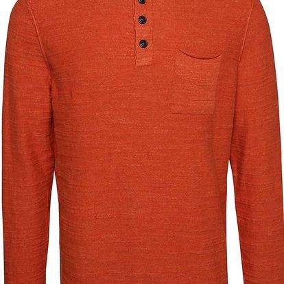 Oranžový pánský svetr s knoflíky s.Oliver