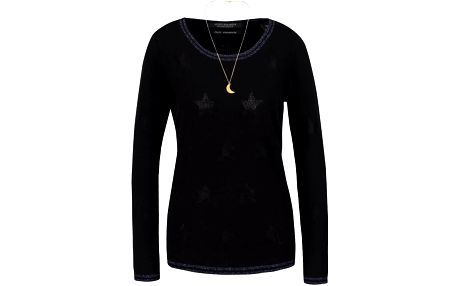 Černý svetr s třpytivým tmavě modrým lemem Maison Scotch