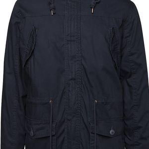 Tmavě modrá zimní parka s kapucí s umělým kožíškem !Solid Detroit