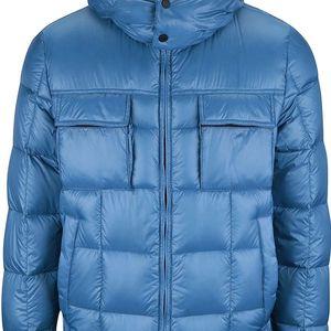 Modrá pánská prošívaná lesklá bunda s kapucí Geox Down
