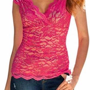 Krajkové tričko s hlubokým výstřihem Holly růžové