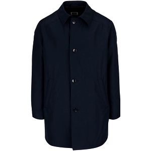 Tmavě modrý kabát s příměsí vlny bugatti