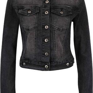 Tmavě šedá džínová bunda bez límečku ZOOT Now