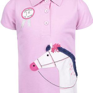 Růžové holčičí polo tričko s výšivkou koně Tom Joule Moxie