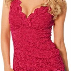 Krajkové tričko s hlubokým výstřihem Holly červené