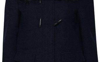 Tmavě modrý vlněný kabát s kapucí a umělým kožíškem ONLY Yatta