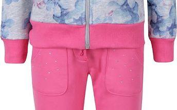Šedo-růžová květovaná holčičí tepláková souprava North Pole Kids