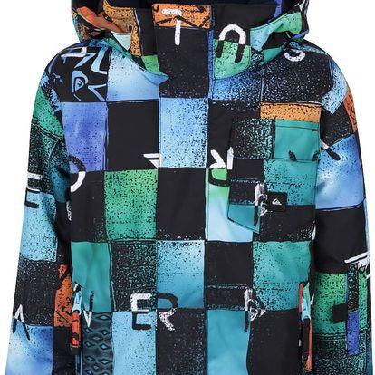 Modro-černá kostkovaná klučičí zimní bunda Quiksilver