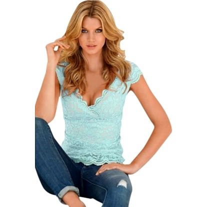 Krajkové tričko s hlubokým výstřihem Holly modré
