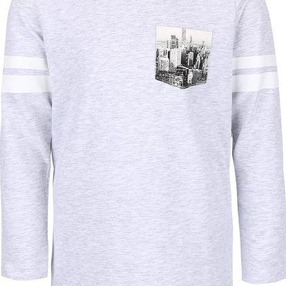 Světle šedé žíhané klučičí triko s kapsou name it Kroels