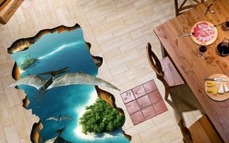 3D samolepka na podlahu - Pterodaktylí ostrov