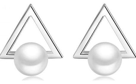 Trojúhelníkové náušnice s perličkou