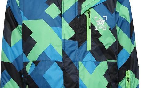 Zeleno-modrá vzorovaná klučičí zimní bunda s kapucí 5.10.15.