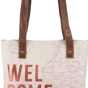 Krémovo-růžová kabelka s potiskem mapy Disaster