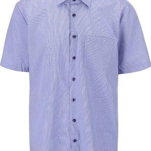 Modrá kostkovaná košile s krátkým rukávem Seidensticker Kent Tape