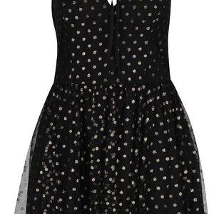 Černé šaty s puntíky ve zlaté barvě Miss Selfridge