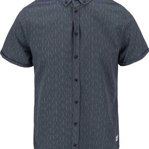 Šedomodrá vzorovaná slim košile s krátkým rukávem Blend