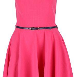 Růžové šaty s tmavě modrým páskem Closet